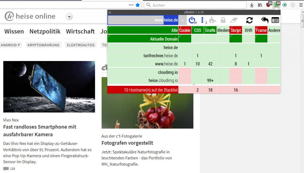 uMatrix auf heise.de