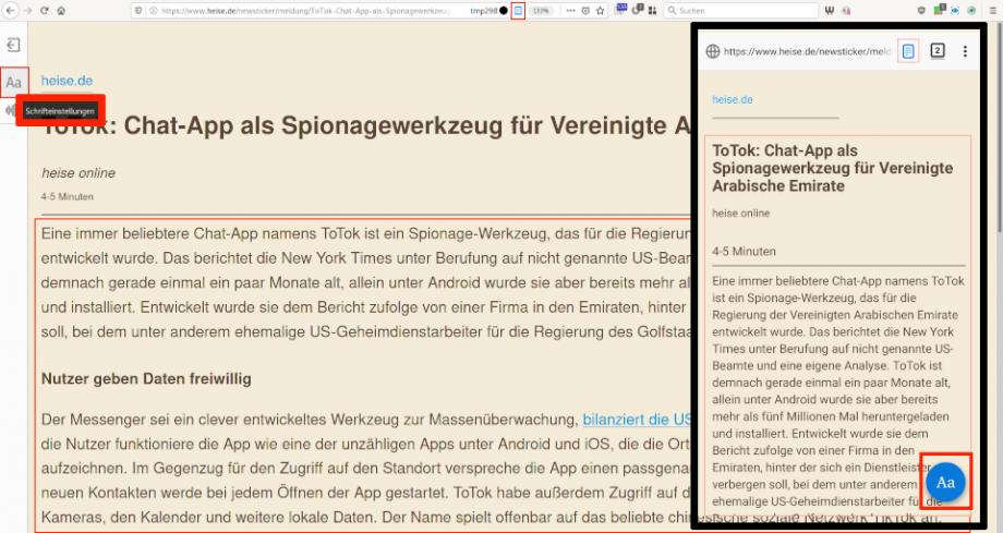 Firefox – Leseansicht